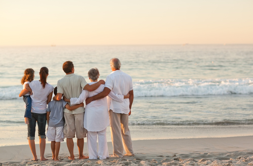 Beautiful family at the beach-1